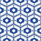 Blue and white mediterranean seamless tile pattern. Geometric monochrome shapes vector texture for ceramic design, textile and wallpaper Royalty Free Stock Photos