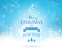 Blue white Merry Christmas card Royalty Free Stock Photo