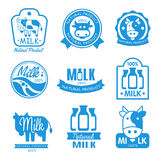 Blue and White Milk Symbols Royalty Free Stock Image