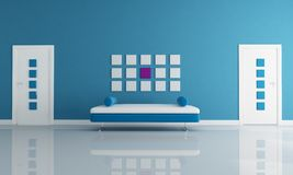 Blue and white modern interior Royalty Free Stock Images