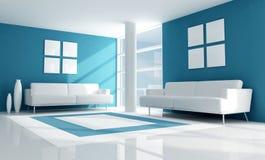 Blue and white modern living room. Blue modern living room with two white velvet sofa - rendering vector illustration