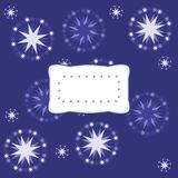 Blue white monochromatic background with stars and label Stock Photography