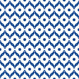 Blue and white moroccan seamless pattern. Oriental abstract motifs. Ceramic or textile net mesh pattern tiles Royalty Free Stock Photo