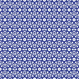 Blue and white moroccan seamless pattern. Oriental abstract motifs. Ceramic or textile net mesh pattern tiles Stock Photos