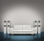 Blue and white music room Royalty Free Stock Photo