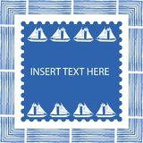 Blue and white nautical frame with brush elements and hand drawn sailing boats in square centre with scalloped edge. Vector illustration Great for labels royalty free illustration