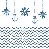 Blue and white nautical template Royalty Free Stock Photography