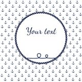 Blue and white navy rope circle frame with anchors. Decorative elements in nautical style, marine card background Royalty Free Stock Images