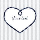 Blue and white navy rope heart frame with wave Stock Image