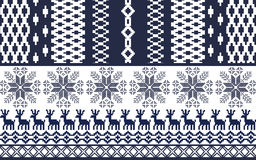 Blue and white Nordic Pattern. Vertical and horizontal    stripes Stock Image