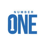 Blue and white number one diagonal logo template Royalty Free Stock Photo