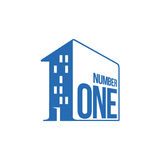 Blue and white number one logo as apartment house. Vector illustrations isolated on white background. Graphic logo with number one written on a house wall for Stock Images