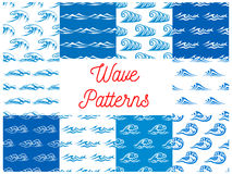 Blue and white ocean waves seamless patterns set Royalty Free Stock Photos