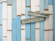 Blue and White Old Wood Wall stock photo