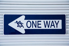Blue and White One Way Sign Stock Images