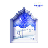 Blue White Origami Mosque Window Ramadan Kareem Greeting card Royalty Free Stock Images