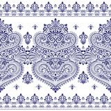 Blue and white ornamental seamless pattern with stripes. Paisley elements. Ornament. Traditional, Ethnic, Turkish, Indian motifs. Great for fabric and textile Royalty Free Stock Photos