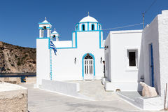 Blue White orthodox church at Firopotamos, Milos island, Cyclade Stock Images