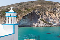 Blue White orthodox church at Firopotamos, Milos island, Cyclade Royalty Free Stock Images