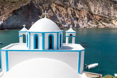 Blue White orthodox church at Firopotamos, Milos island, Cyclade Stock Photography