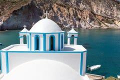 Blue White orthodox church at Firopotamos, Milos island, Cyclade Stock Photography