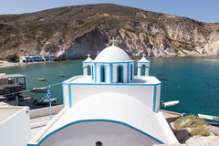 Blue White orthodox church at Firopotamos, Milos island, Cyclade Stock Photo