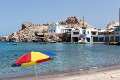Blue White orthodox church at Firopotamos, Milos island, Cyclade Royalty Free Stock Photo