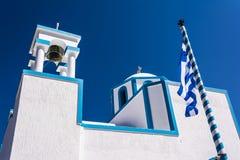 Blue White orthodox church at Firopotamos, Milos island, Greece Stock Photo
