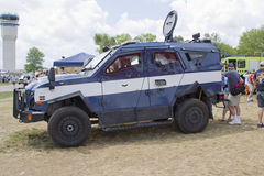 Blue and White Oshkosh Corp TPV miilitary vehicle Stock Images