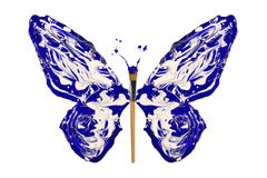 Blue and white paint made butterfly Stock Images