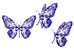 Blue white paint made butterfly set Stock Image
