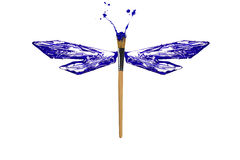 Blue and white paint made dragonfly Royalty Free Stock Photos