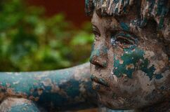 Blue and White Painted Boy Statue Royalty Free Stock Photos