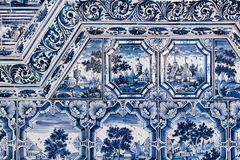 Blue white paintings on a tiled stove Stock Photo