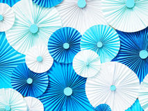 Blue and white paper as flower shape pattern stock photos