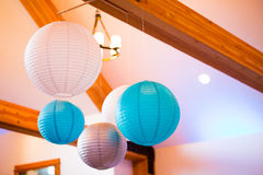 Blue and White Paper Lanterns Stock Photography