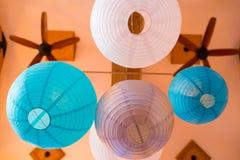 Blue and White Paper Lanterns Stock Photo