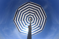 Blue white parasol Stock Photography