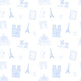 Blue and white Paris vector seamless pattern hand-drawn landmarks illustration  background Royalty Free Stock Photos