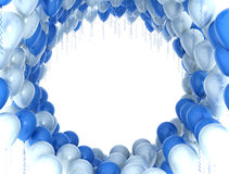 Blue and white party balloons. On white background Royalty Free Stock Photo