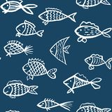 Blue and white pattern with hand drawn fishes. Creative o stock illustration