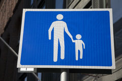 Blue and White Pedestrian Sign Royalty Free Stock Photography