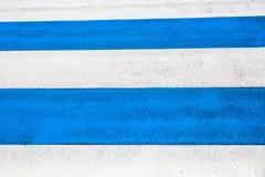 Blue & white pedestrian stripes Stock Images