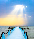 Blue and white pier Royalty Free Stock Photo