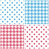 Blue, white and pink vector background set. Houndstooth and polka dots seamless pattern collection for desktop wallpaper or kid website design Royalty Free Stock Photo