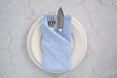 Blue and white place setting Stock Images