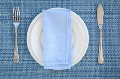 Blue and white place setting Royalty Free Stock Photography