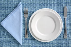 Blue and white place setting Royalty Free Stock Images