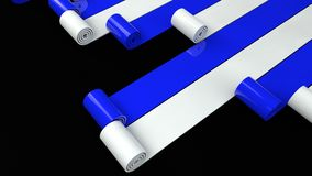 Blue and white plastic rolls unrolling on black background 3d render royalty free illustration