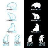 Blue white Polar bear logo vector design Royalty Free Stock Photo